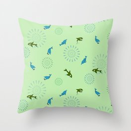 Green Orca and Dolphin Throw Pillow