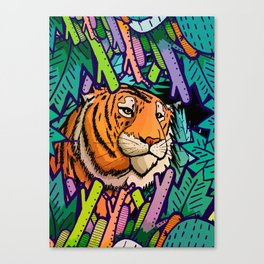 Tiger in the undergrowth Canvas Print
