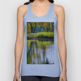 autumn at the pond Unisex Tank Top