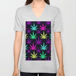 Colorful Marijuna Weed Unisex V-Neck