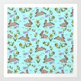 Hoppy Happy Sweet Spring Bunny Floral Design Art Print