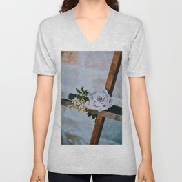 Rose on the Cross (Color) Unisex V-Neck
