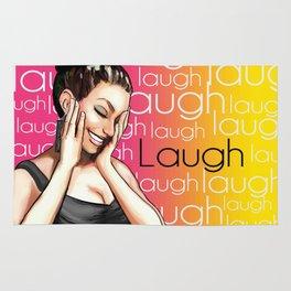Retro Pinup Girl Laugh Typography Rug
