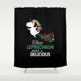 Unicorn Ate Leprechaun Rainbow Shamrock Shower Curtain