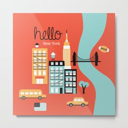 Hello New York - retro manhattan NYC icons illustration Metal Print