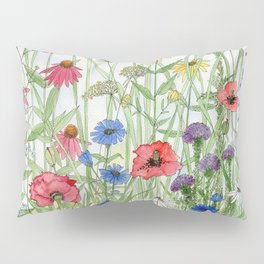 Watercolor of Garden Flower Medley Pillow Sham