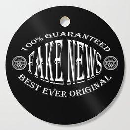 Fake News badge (white on black) Cutting Board