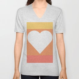 Three Colored Heart Unisex V-Neck