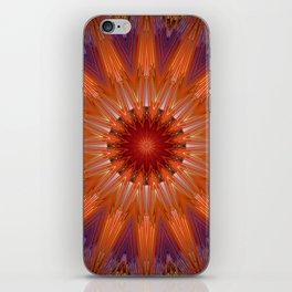 Vibrant Purple Orange Mandala Design iPhone Skin