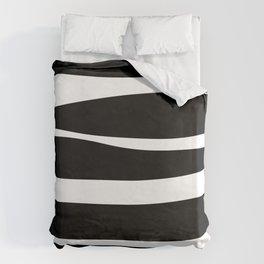 Irregular Stripes Black White Waves Art Design Duvet Cover