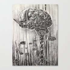 Helmet of Resolution - Black and white lithograph Canvas Print