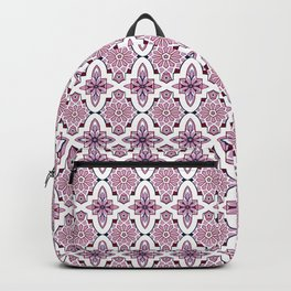 Lilac and burgundy flower Moroccan Tiles Backpack