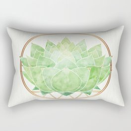 Watercolor Succulent with Metallic Gold Accents Rectangular Pillow