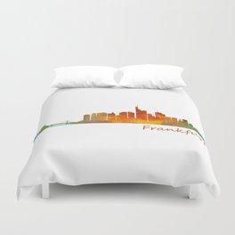 Frankfurt am Main, City Skyline, Citiscae art watercolor V1 Duvet Cover
