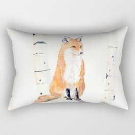 Fox and Birch Trees Rectangular Pillow