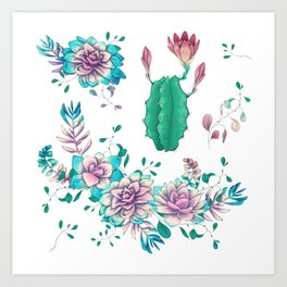 Colorful hand illustrated succulents and cacti Art Print