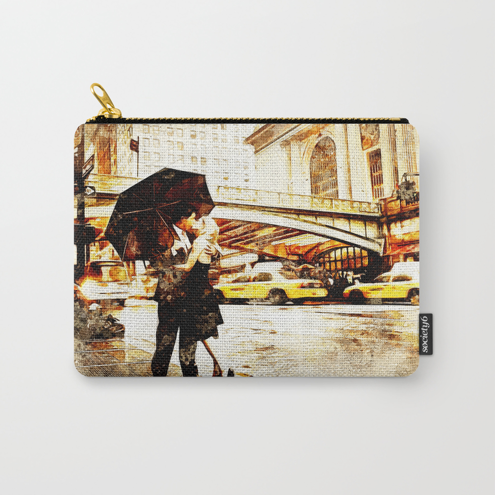 Love In The Rain (loving The Rain) Carry-all Pouch by D77thedigartist CAP8597572