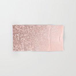 Rose Gold Sparkles on Pretty Blush Pink II Hand & Bath Towel