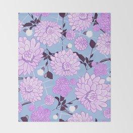 Soft calming lilac spring florals design Throw Blanket
