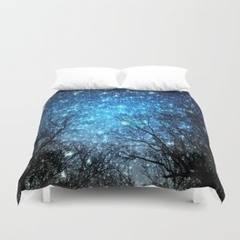 Black Trees Blue SPACE Duvet Cover