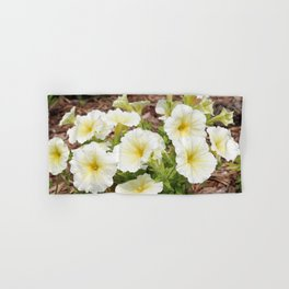 Cluster of White and Yellow Petunias Hand & Bath Towel