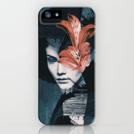 Red Flowers/Lady Portrait iPhone Case