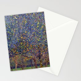 Pear Tree in Blossom floral landscape painting by Guasav Klimt Stationery Cards