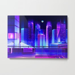 Synthwave Neon City #11 Metal Print