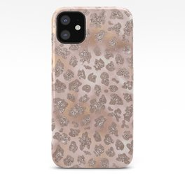 Rosegold Blush Leopard Glitter iPhone Case