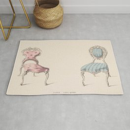 Design for Chairs Louis Quinze Style by Robert William Hume British // Fashion Furniture Sketches Rug