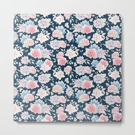Navy blue blush pink lavender cactus floral pattern Metal Print