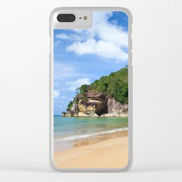 Exotic sand beach and cliffs with forest Clear iPhone Case
