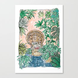 Tropical Coral Jungle Room with Sleeping Cat Canvas Print