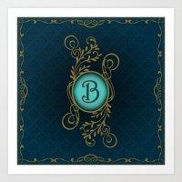 monogram Art Prints featuring Monogram B by Britta Glodde