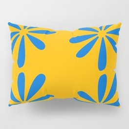 Blue flowers on a yellow background Pillow Sham