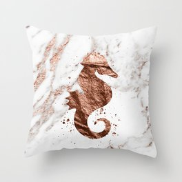 Rose gold seahorse marble Throw Pillow