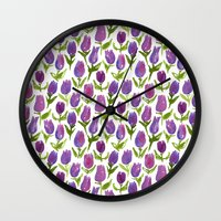 tulips Wall Clocks featuring Tulips by leah reena goren