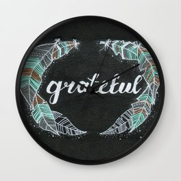 Gratitude, Turquoise, Brown, Gray, Black, White Painting, Feathers, by Kimberly Schulz Wall Clock