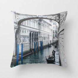 Gondola and Bridge of Sights in Venice Throw Pillow