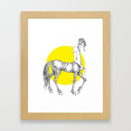 Young centaur with headphones and mp3 player Framed Art Print