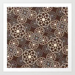 Brown and Silver Floral Pattern Art Print