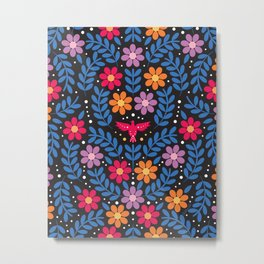Colorful and Joyful Folk Floral Pattern on Black, Inspired by Mexican Embroidery Designs Metal Print