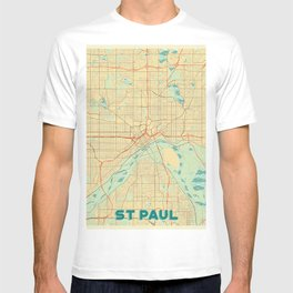St Paul Map Retro T-shirt