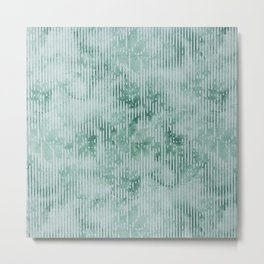 Vintage geometric forest green watercolor floral Metal Print
