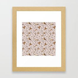 Modern abstract blush pink faux gold geometrical Framed Art Print