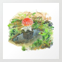A little mushroom and a puddle Art Print