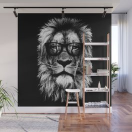 Hipster Lion Black Wall Mural