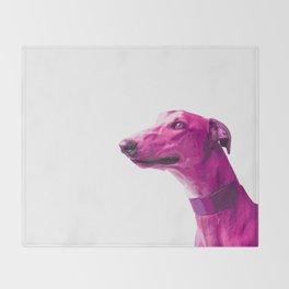 Pink Greyhound. Pop art dog. Throw Blanket