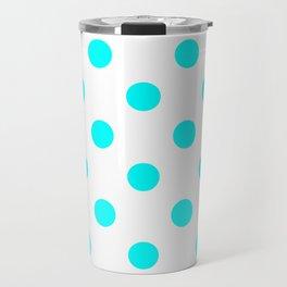 Polka Dots - Aqua Cyan in White Travel Mug