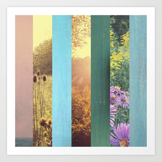 Autumn Collage - sunset and blue Art Print